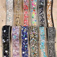 50CM Bling Crystal Ribbon Wedding Dress Shoes Bags Decor DIY Crafts Sewing Trims
