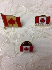 Lot of 3 Vintage Canada Maple Leaf Flag Pin Badge Buttons