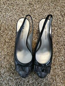 Anne Klein Bow Toes Black Slingback Women's Size 7