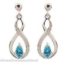 Sterling Silver Diamond + Blue Topaz Infinity Set Ear Studs Earrings + gift bag