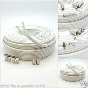 15m White Twin Coaxial Satellite Extension Cable suitable for Sky Q, HD Freesat