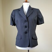 Womens Anne Klein Blazer Jacket Black Grey Pin Stripe SZ 6 Short Sleeve NICE