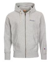 Champion Europe Reverse Weave Script Logo Zip Hoodie Sweatshirt - Grey
