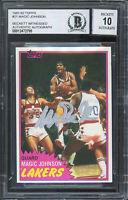 Lakers Magic Johnson Signed 1981 Topps #21 Card Auto Graded Gem 10! BAS Slabbed