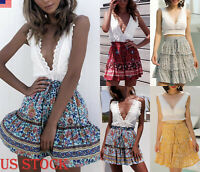 Sundress Women Chiffon Floral High Waist BOHO Dress Skater Pleated Mini Skirt