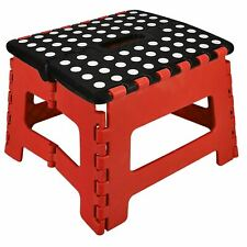 More details for large fold step stool plastic home kitchen multi purpose foldable storage red uk