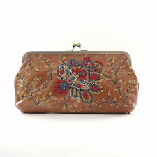 Patricia Nash Provencal Beading Potenaz Clutch / Purse /Handbag $189, Tan / Gold