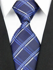 New Navy Blue White Stripe Scottish Tartan Style Mens Burns Night Tie UK Seller