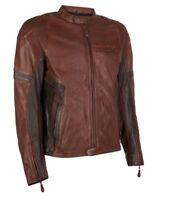 Kawasaki RS Leather Jacket Motorbike Motorcycle Mens Brown Soft Touring Urban