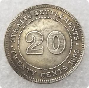 CA 1899 VICTORIA QUEEN SETTLEMENTS STRAITS TWENTY CENTS COMMEMORATIVE COIN