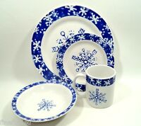 WCL China Blue Snowflake XMas Holiday Dishes 4 Pc Place Setting(s) Winter