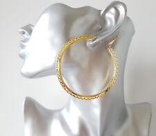 7 Cm Grande Aro Pendientes de oro de tono-Tubo triangular con Borde de corte patrón
