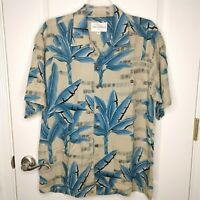 Tori Richard Mens Tan Blue Leaves Pattern Short Sleeve Hawaiian Shirt Size M