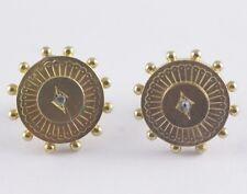 Antique Victorian Diamond Disc Pierced Earrings 14k Yellow Gold