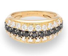 14Carat Yellow Gold Sapphire & Simulated Diamond Cluster Band (Size J 1/2)