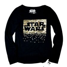 Star Wars Girls Sequin Print T Shirt Sz XS 4/5 Black Stretch Long Sleeves