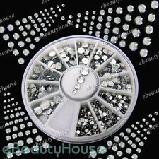 800 Pcs 4 Sizes Silver Rhinestones Wheel nail Art Set Decoration #056C