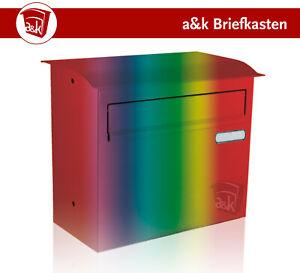 Zaunbriefkasten Edelstahl 1 Namensschild Farbe nach Wahl (Art. 09.4)