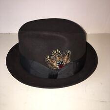 be930d423e2 Vintage Fedora Sz 7 Black Felt XXX Quality Feather Nice Clean Unused Hat