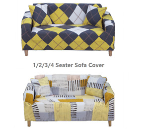 1-4 Seater Printed Slipcover Sofa Covers Spandex Stretch Cover Furniture Protect