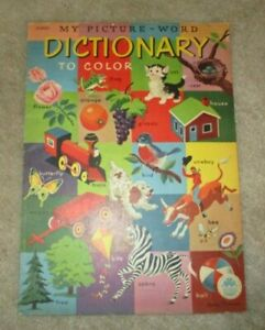 1951 UNUSED My Picture Word Dictionary Coloring Book Merrilll #250925