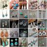 Women 925 Silver Turquoise Earrings Sapphire Moonstone Ear Stud Hook Dangle Drop