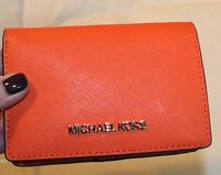 Michael Kors Womens Wallet Billfold Bright Orange Leather  Medium Size Bi-fold