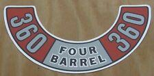 Mopar NEW 360 Four Barrel Air Cleaner Decal DD0039