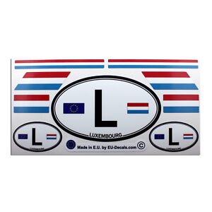 Set of 9 Luxembourg flags & L car country sign Laminated Decals Stickers