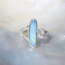 Opal Dublette Ring, 925er Silber, Edelsteinring (21816), mit Mondstein