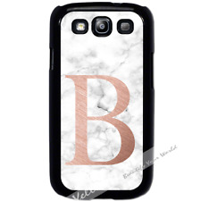For Samsung Galaxy S3 i9300 Case Cover PERSONALISED Initial White Marble Y01505