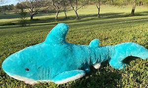 "Shark Large Jumbo Huge 32"" Stuffed Animal Plush Turquoise Blue Jaws Promo"