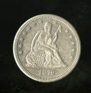 1876 CC SEATED LIBERTY QUARTER UNGRADED US SILVER COIN