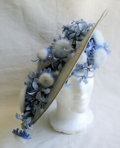 JACK MCCONNELL Tilt Hat Red Feather Straw Wide Brim Periwinkle Blue White Flower