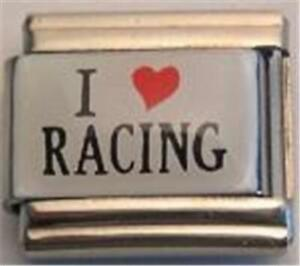 I Heart Love Racing Sport Enamel Italian Charm 9mm Classic For Bracelet Rare New