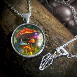 Magic Mushroom Pendant Handmade Sterling Silver Necklace w/Chain 4-SRPN