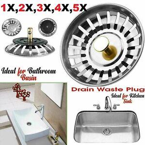 Premium Kitchen Sink Strainer Replacement Waste Plug Basin Drain Filter Steel