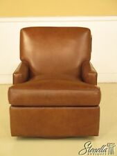 42459: HANCOCK & MOORE Brown Leather Swivel Chair ~ NEW
