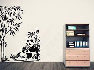 BAMBOO & GIANT PANDA + BABY PANDA Wall Art Sticker, Decal, Mural, in 3 x sizes