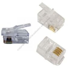 Lot100 Phone/Telephone RJ22 Crimp End/Terminator for Flat cable/cord/wire$S