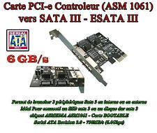 Carte controleur PCI EXPRESS PCIE PCI-e 1x vers SATA 3 - ESATA 3 - 4  Ports