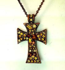 Amarillo de piedra y óxido de Color Tradicional Collar De Cruz