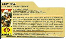 G I JOE File Card Filecard  2008  Storm Shadow  V26  (  Comic Pack #4 )