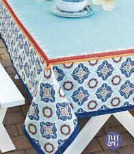Better Homes & Gardens Blue Teal Red Medallion 60 x 84 Tablecloth Rectangular