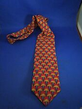 Jos. A. Bank The Miracle Collection 100% Silk Tie Fans Pattern Red 54 Inches