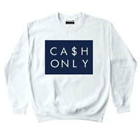 Cash Men's Crewneck Sweatshirt To Match Retro Jordans 11 Midnight Navy UNC