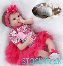 """Reborn Baby Girl Doll 22"""" Soft Silicone Vinyl Toddler Realistic Dolls Toys Gift"""