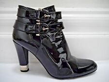 STUART WEITZMAN $435 black patent buckle top ankle boots booties 8.5 WORN ONCE