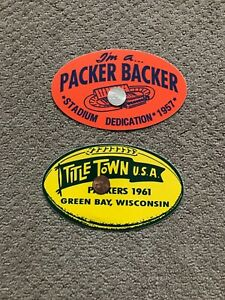 """GREEN BAY PACKERS Vintage LAMBEAU 1960s Decals Stickers 5"""" Dia TITLETOWN"""