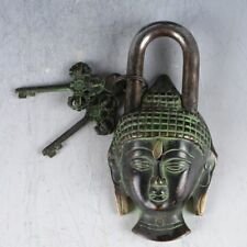 Chinese Ancient  Decorative Bronze Kwan-yin Lock & key